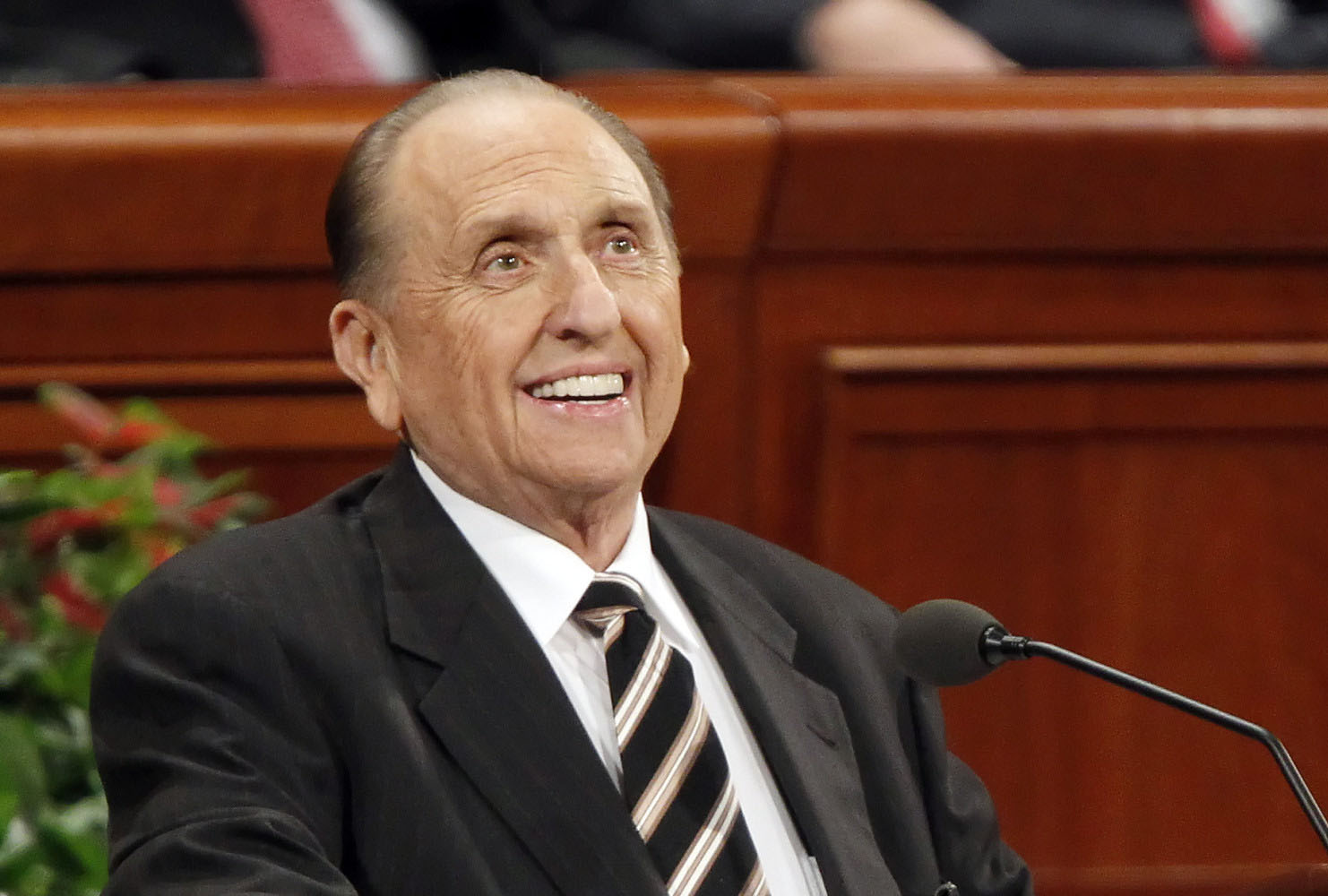 President of the Church of Jesus Christ of Latter-day Saints, Thomas Monson gives a talk during the first session of the 181st Semiannual General Conference October 1, 2011 in Salt Lake City, Utah.